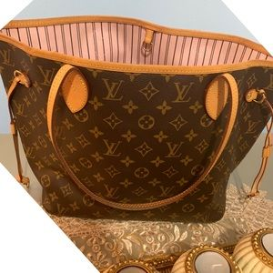 Authentic LV Neverfull MM Monogram Rose Ballerine